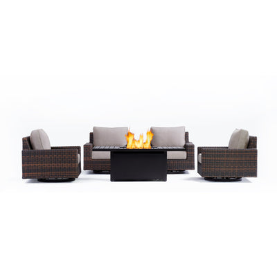 Yardbird Langdon Outdoor Fire Pit Table Set with 4 Swivel Glider Chairs Outdoor Furniture