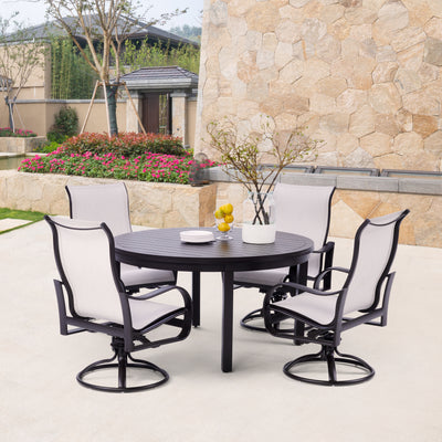 Yardbird Pepin Outdoor Fire Pit Table Set with 4 Sling Chairs Outdoor Furniture