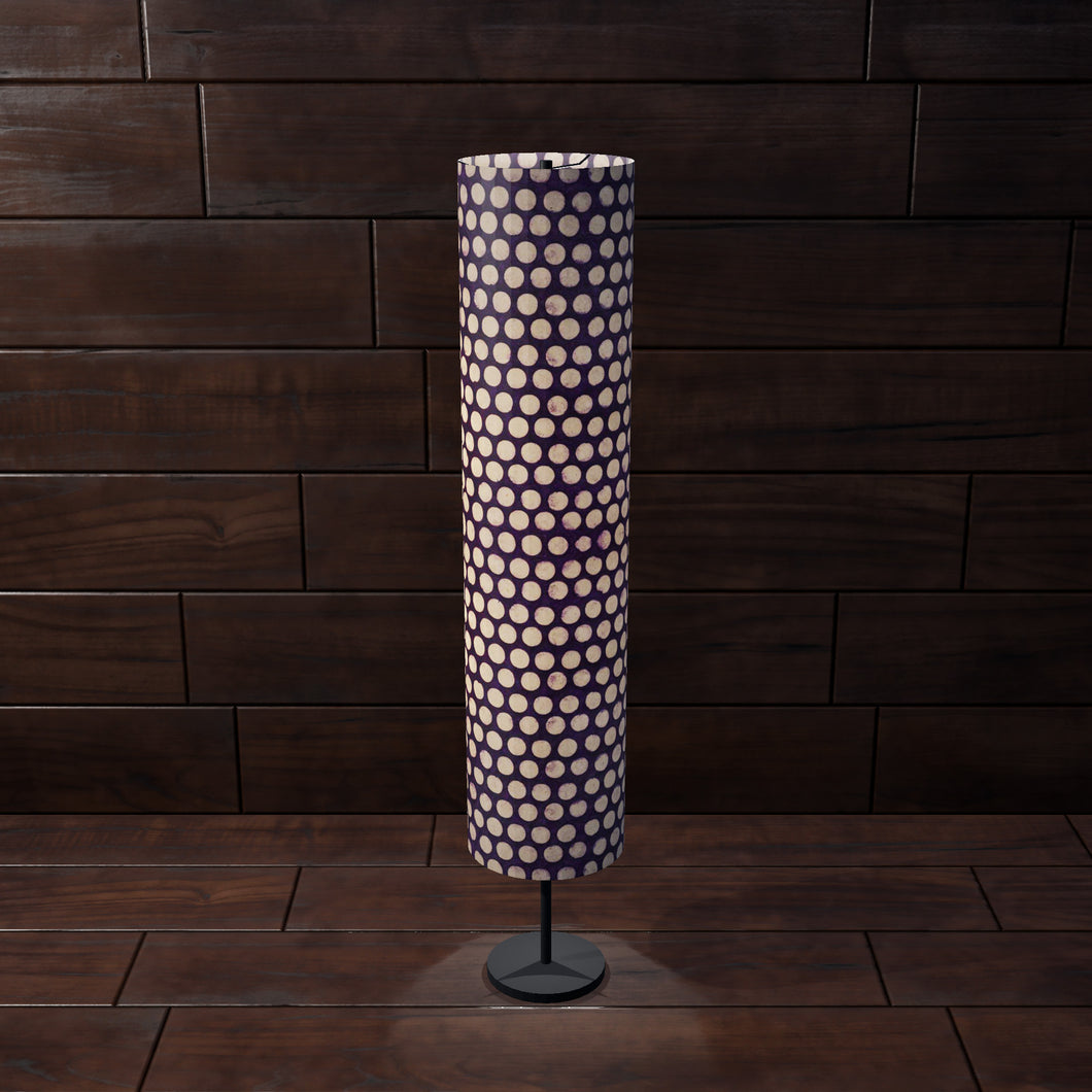 Drum Floor Lamp - P79 - Batik Dots Purple, 22cm(d) x 114cm(h) - Imbue Lighting