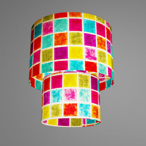 2 Tier Lamp Shade - P01 - Batik Multi Square, 30cm x 20cm & 20cm x 15cm