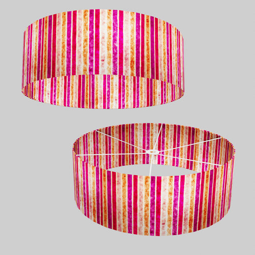 Drum Lamp Shade - P04 - Batik Stripes Pink, 60cm(d) x 20cm(h)