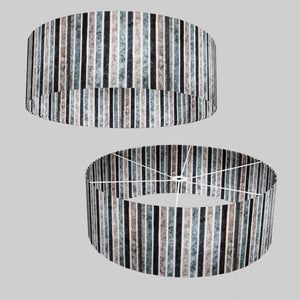 Drum Lamp Shade - P08 - Batik Stripes Grey, 60cm(d) x 20cm(h)