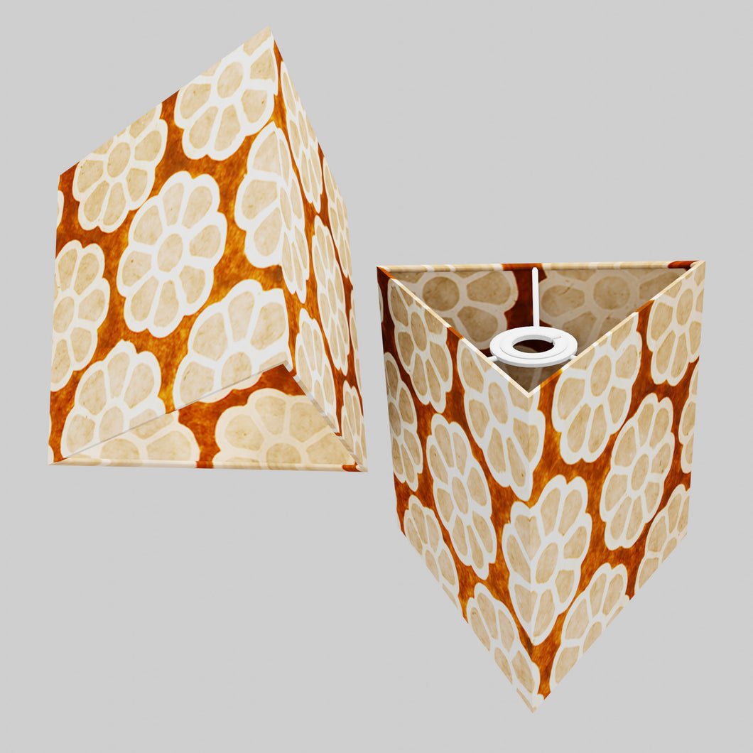 Triangle Lamp Shade - P20 - Batik Big Flower on Brown, 20cm(w) x 20cm(h)