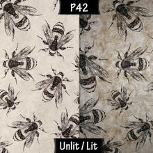 Drum Lamp Shade - P42 - Bees Screen Print on Natural Lokta, 40cm(d) x 40cm(h) - Imbue Lighting