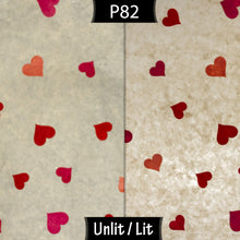 Drum Floor Lamp - P82 ~ Hearts on Lokta Paper, 22cm(d) x 114cm(h) - Imbue Lighting