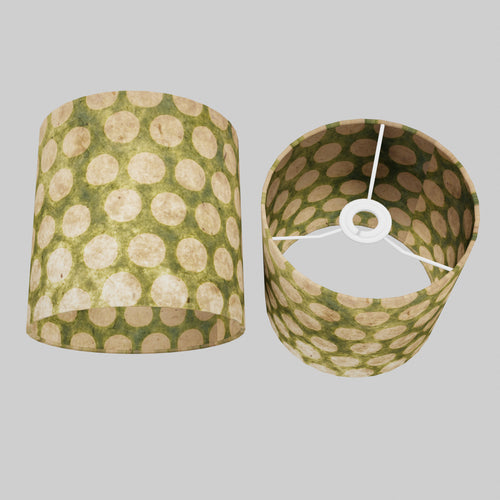 Drum Lamp Shade - P87 ~ Batik Dots on Green, 20cm(d) x 20cm(h)
