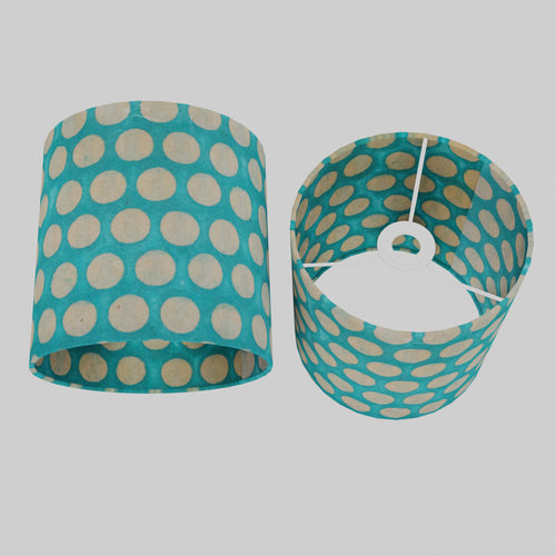 Drum Lamp Shade - P97 - Batik Dots on Cyan, 20cm(d) x 20cm(h)