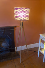 Oak Tripod Floor Lamp - P79 - Batik Dots Purple