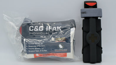 C&G Training Individual First Aid Kit shown with C&G Universal tourniquet holder and North American Rescue Gen 7 CAT.