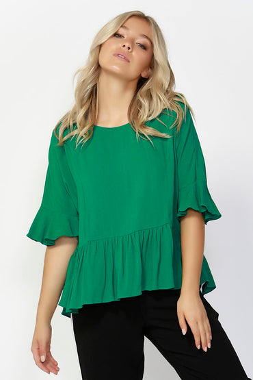 Sass Foxy Ruffle Hem Blouse in Jungle Green