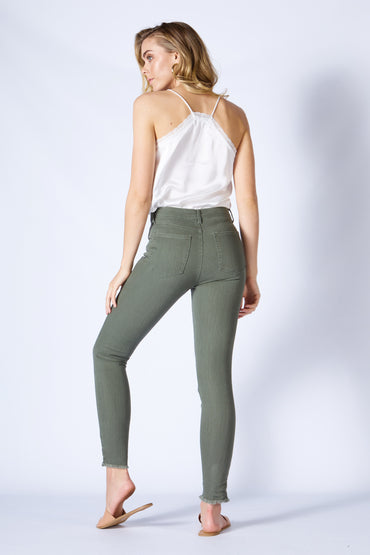 Sass Angus Ripped Denim Skinny Jeans in Sage Green