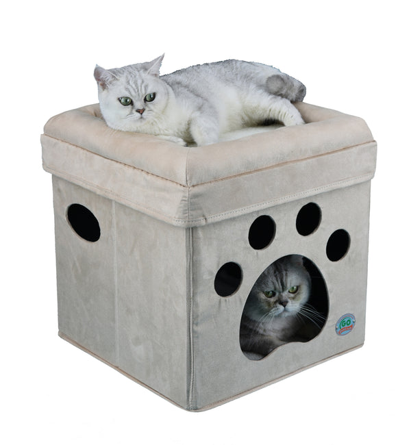 Comfy Cat Cube Bed (Paw)