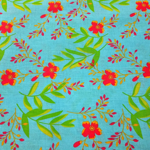 100% Cotton Stylised Flower Print Fabric x 150cm / 60""