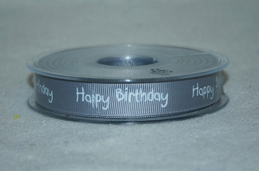 16mmx20m grosgrain happy birthday ribbon grey L595