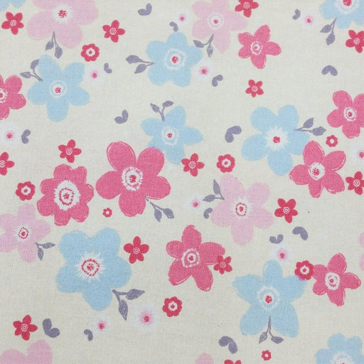 "100% Cotton Doodle Flower Print x 45"" - Cream"