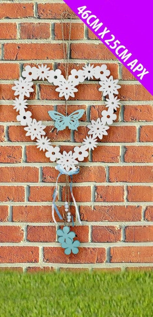 Large Flower & Butterfly Wooden Heart Hanger - Blue