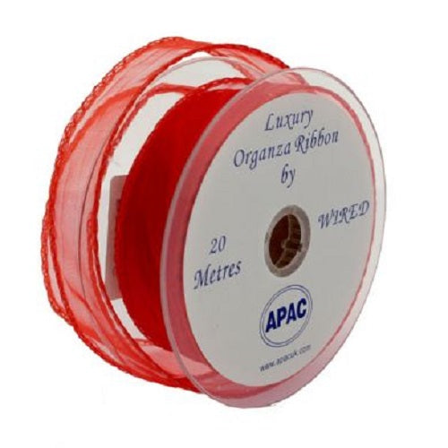 30mm x 20m Wired Organza Ribbon - Red