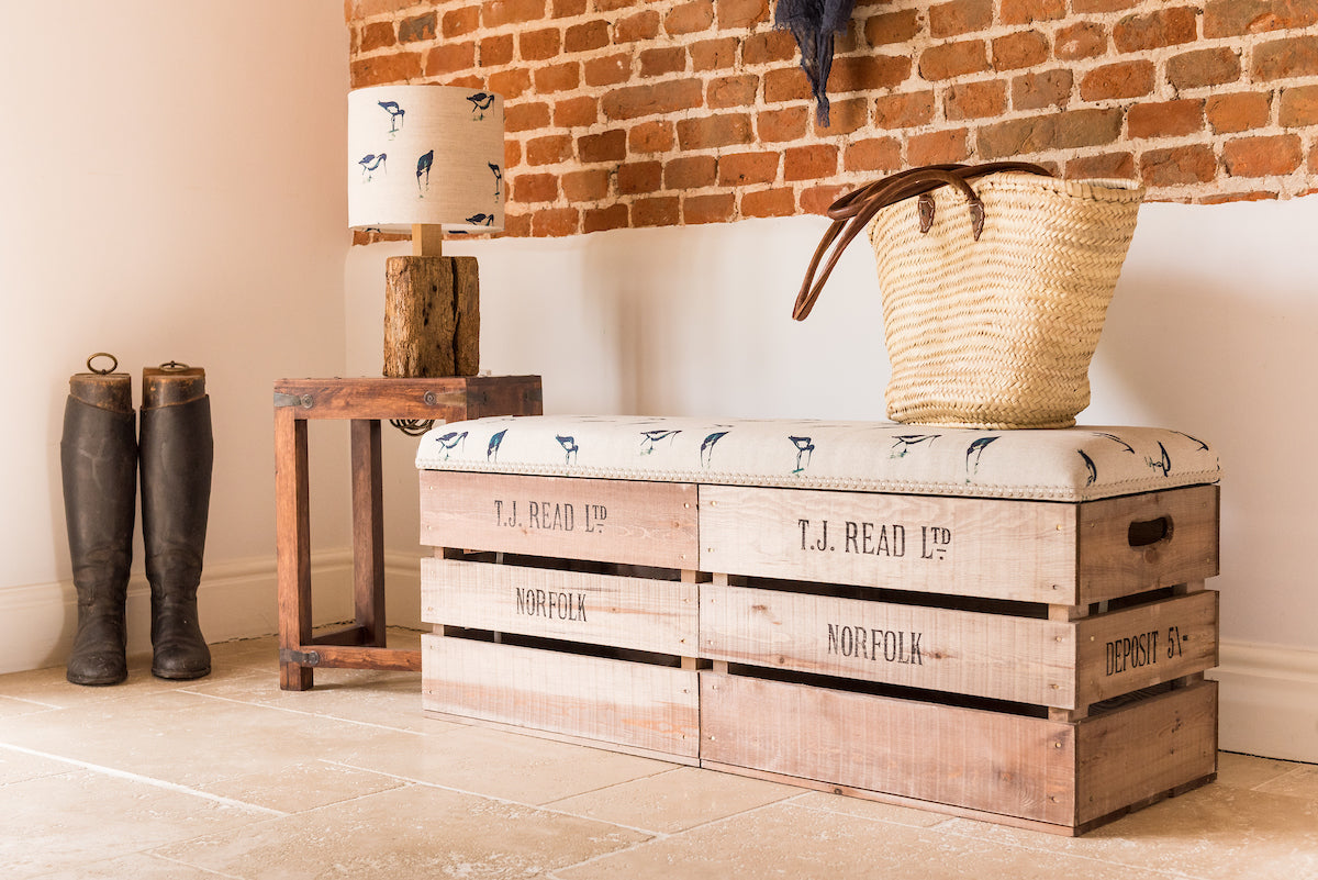 Apple crate storage bench