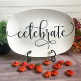 Farmhouse Inspired Script Platter | Personalized Platters | Gather - Thankful - Blessed - Celebrate - Grateful - Custom