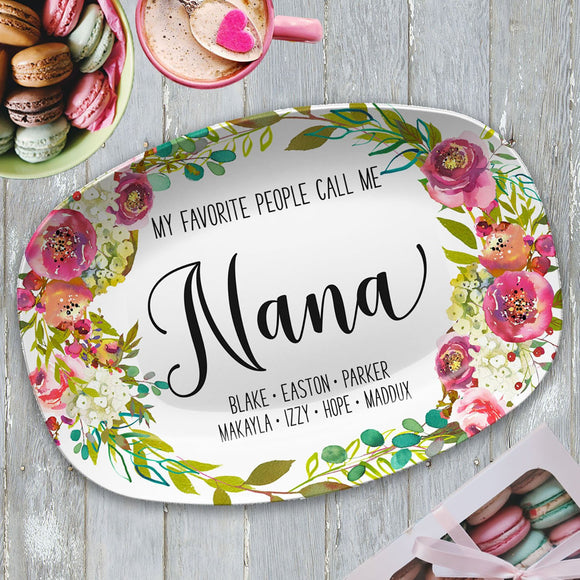 My Favorite People ~ Pink Floral Custom Personalized Platter ~ Gift for Mom
