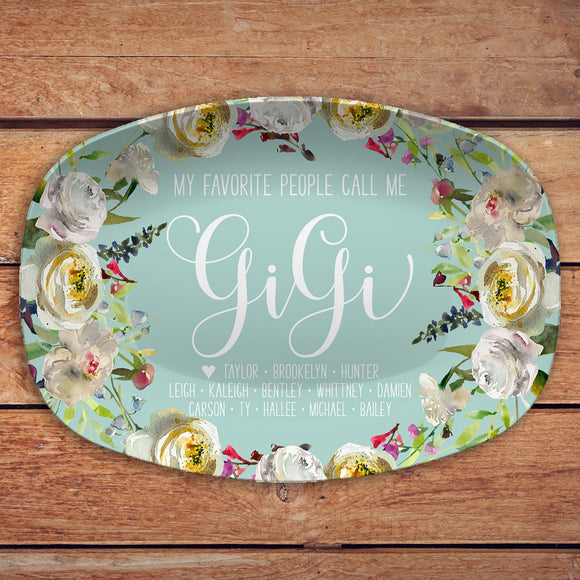 My Favorite People ~ White Floral Custom Personalized Platter ~ Gift for Mom ~ Gift for Grandma