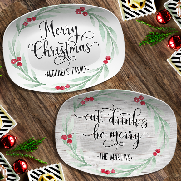 Large Holly Wreath Farmhouse Personalized Platter