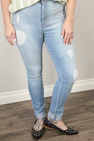 Edith - Light Wash Skinny Jeans