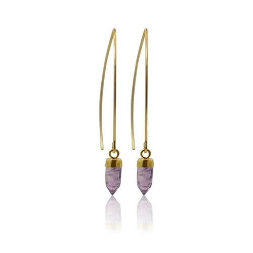 Amethyst Mini Spike Earrings - Gold Earrings
