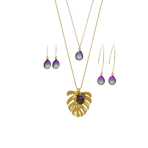 Aura Peacock Palm Leaf Gold Necklace necklace