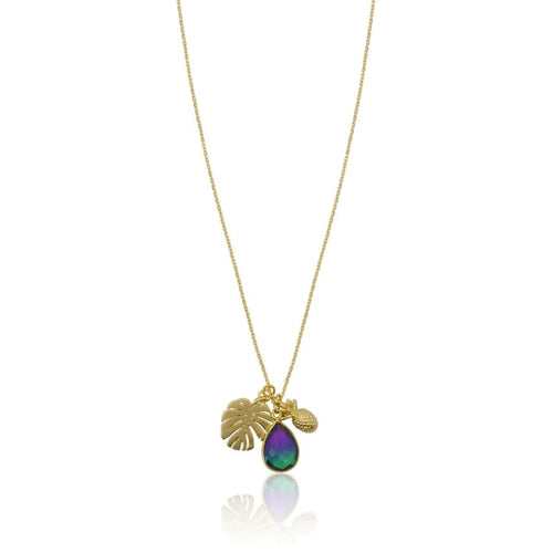 Peacock Aura Leaf & Pineapple Gold Necklace 16