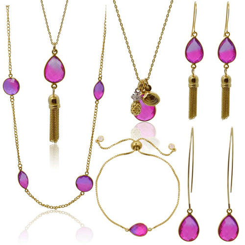 Pink Aura Tassel Oval Drop Necklace - Gold necklace
