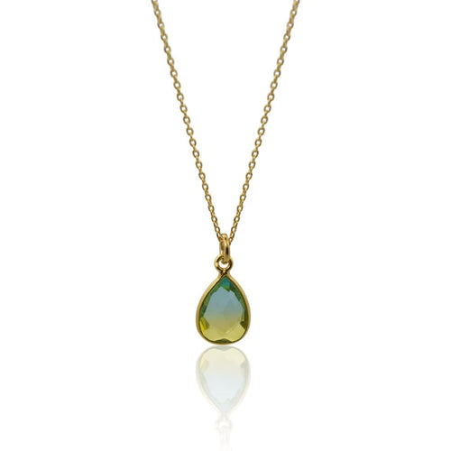Tropical Aura Oval Drop MINI Gold Necklace necklace