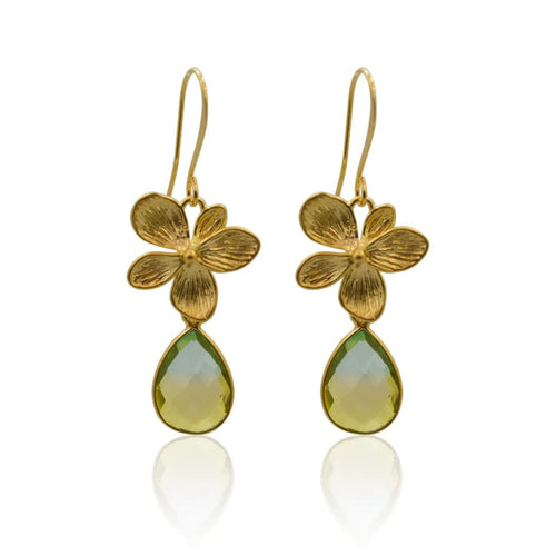 Tropical Aura Single Bloom Plumeria Gold Earrings earrings