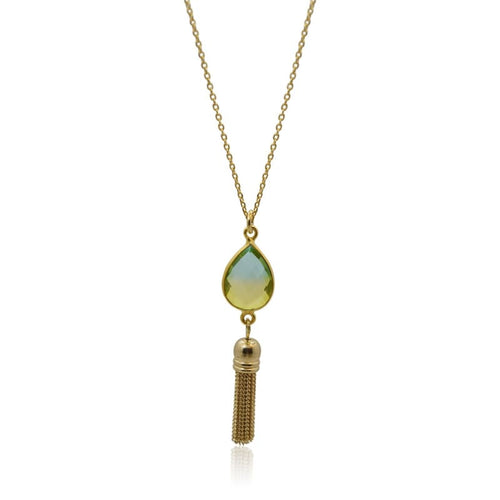 Tropical Aura Tassel Gold Necklace necklace