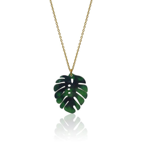 Peacock Aura Palm Tree Gold Necklace