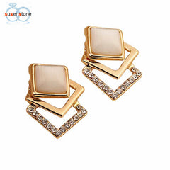 Hollow Crystal Gold Earrings