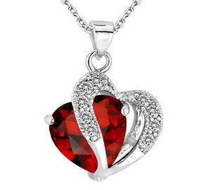 Heart-shaped zircon crystal necklace chain Rhinestone Pendant