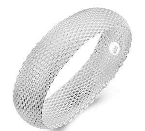 Mesh Bangle in 18K White Gold Plated