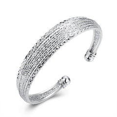 Diamond Cut Bangle in 18K White Gold Plated