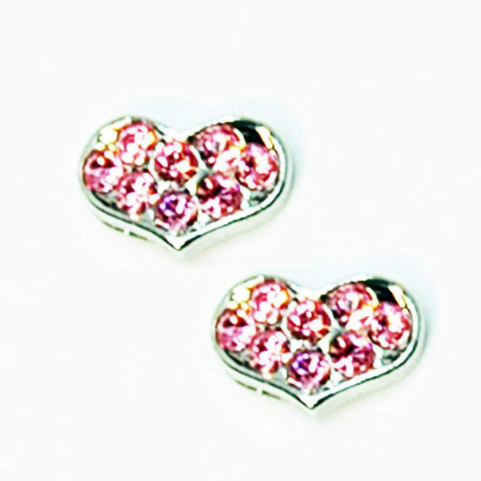 Fuschia Nail Art - Heart Small - Silver/Pink