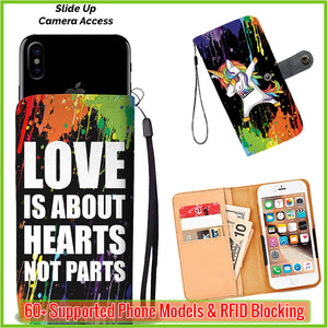 Dabbing Unicorn - Love is about hearts not parts Wallet Phone Case - 9SHOP - MAKE YOU LOOK BETTER