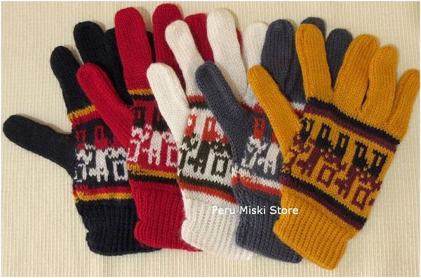 100 pairs Gloves with Llama design, Alpaca blend