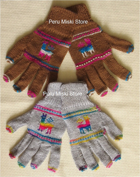 8 pairs Gloves with Llama design, Alpaca blend
