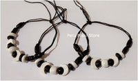 Bracelets or Anklets - Moon ceramic beads and waxed thread
