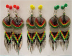 Thread earrings, rasta, with dangles