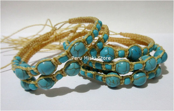 Friendship Bracelets with waxed thread and turquoise beads