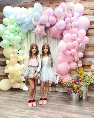 pastel shimmer and confetti balloon balloons garland arch kit diy pink unicorn yellow rainbow