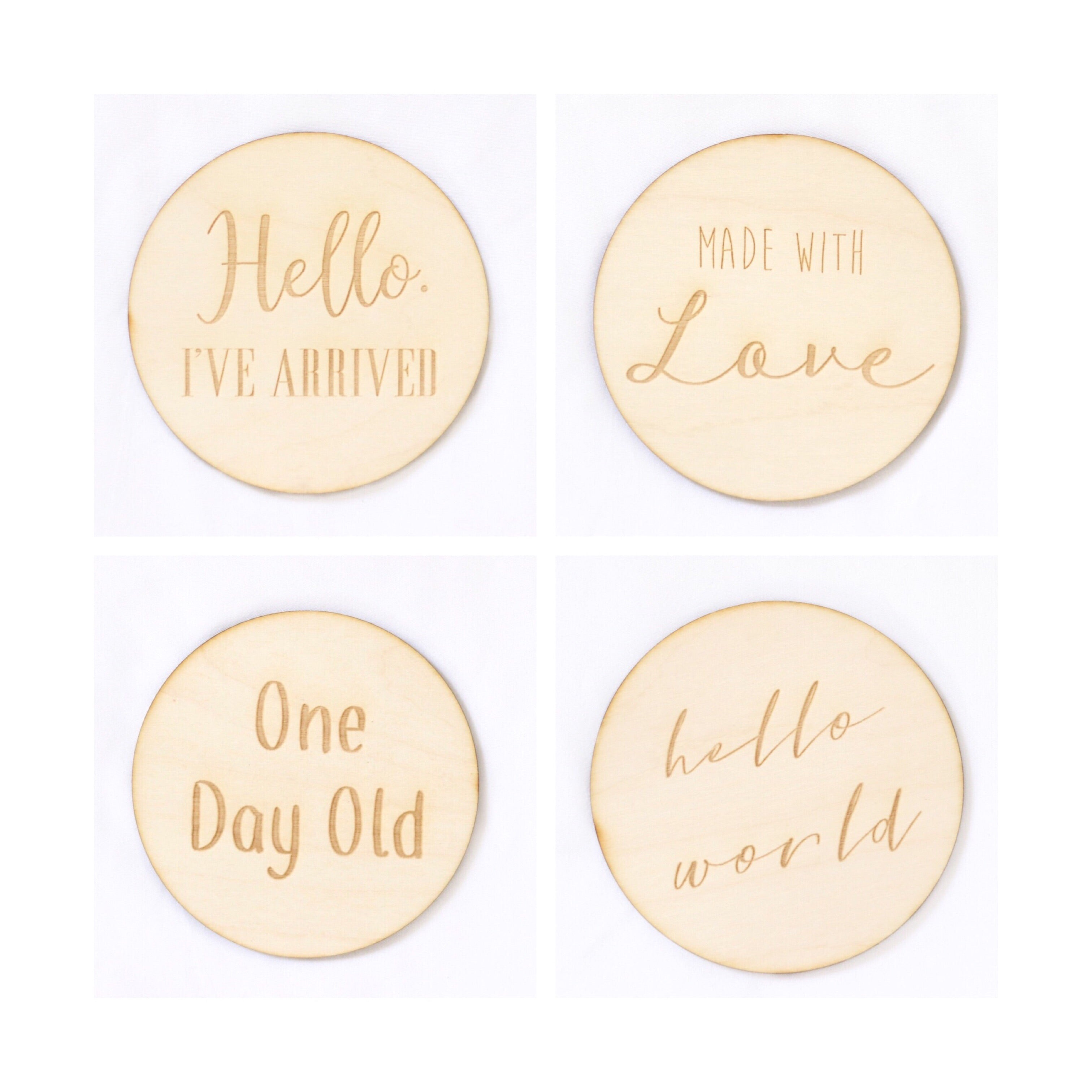 One Wooden Newborn Announcement Cards | 4 styles