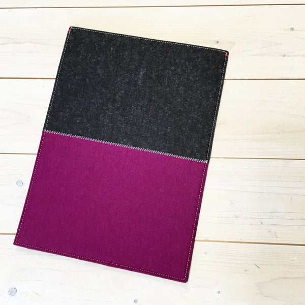 Hoes voor Ipad Pro | Mini | Air in Dark Pink rose en Grijs | CONTRAST