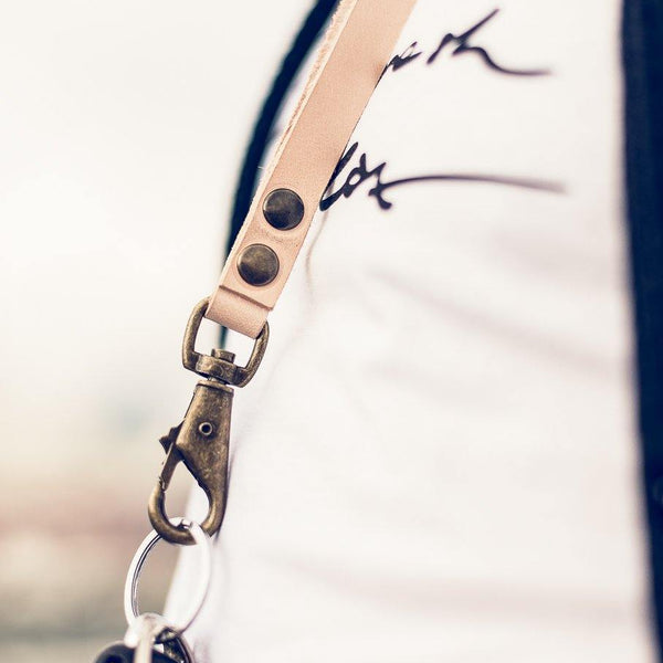Leather keycord leren sleutelhanger all natural